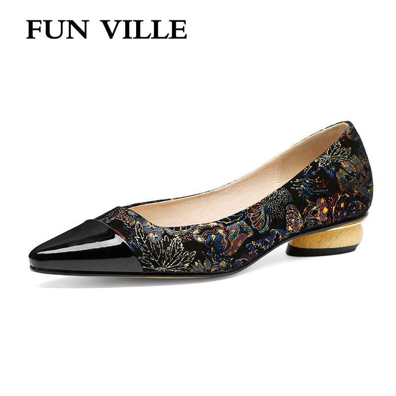 FUN VILLE Black New Fashion Spring Summer shoes Women Pumps Genuine Leather Low Heels Casual shoes
