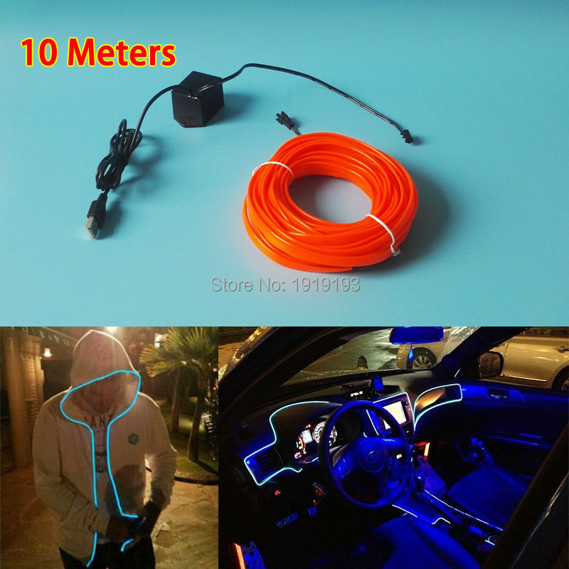 ФОТО 10Meters Motor Car Clothing Party decorative 10 COLOR Choice 2.3mm-Skirt Flexible EL wire glowing Led Strip Neon light tube Rope