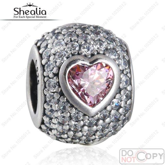 Fit Encantos Pandora Pulseiras Fantasia Rosa Grânulos de Coração Original 925 Sterling Silver AAA Cubic Zirconia Pave JÓIAS SHEALIA BD340