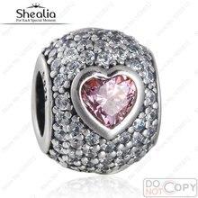 Fit Pandora Charms Pulseras de Lujo Pink Heart Beads Original 925 Plata Esterlina AAA Cubic Zirconia Pavimenta JOYERÍA SHEALIA BD340