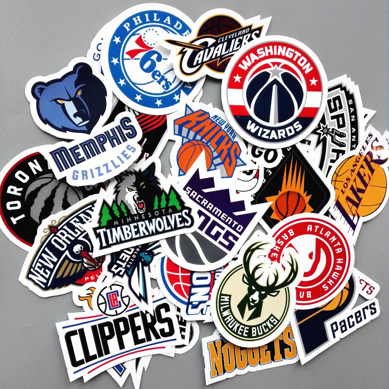 30Pcs/Lot Funny PVC Waterproof NBA Club Logo Sticker For Laptop Trunk Skateboard Fridge Phone Decal Car Styling Toy Stickers signs