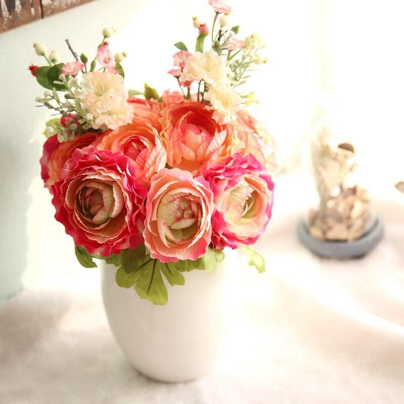 Haochu 1 unid flores artificiales baya persa buttercup vivid plantas ramo decora