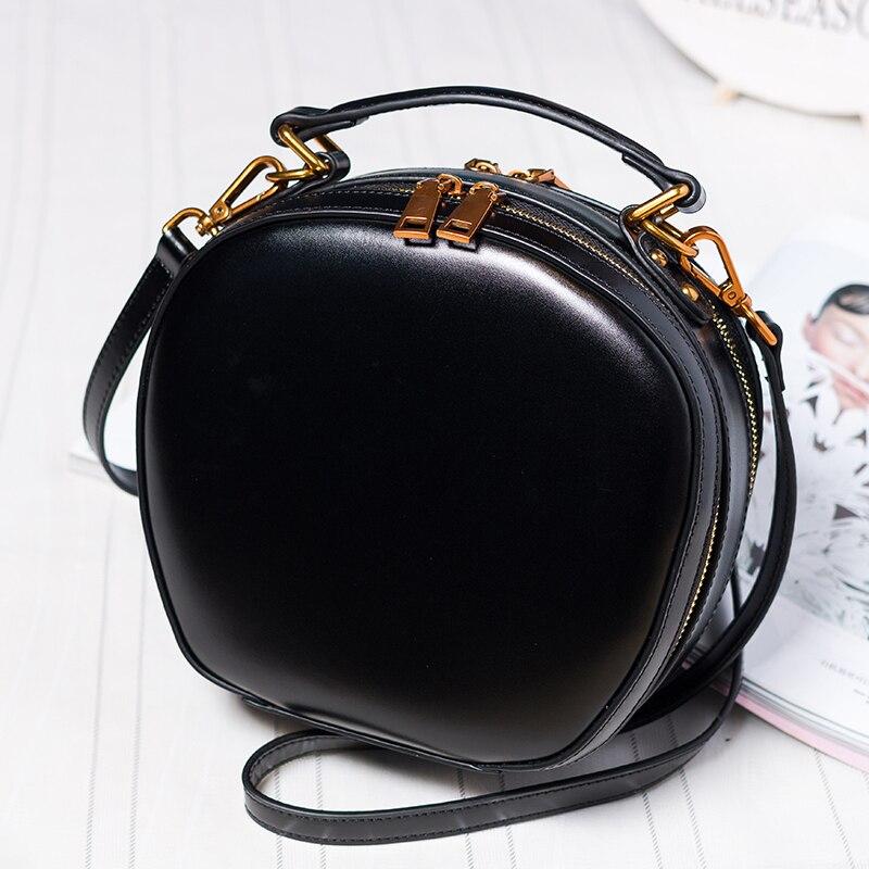 BJYL новые женские сумки из натуральной кожи, женские сумки на плечо в стиле ретро, сумка мессенджер, Мини Круглая сумка - 5