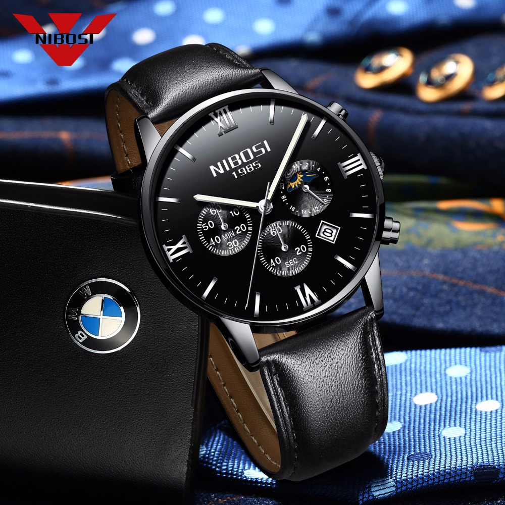 NIBOSI Men Watches Luxury Men's Fashion Casual Dress Watch Military Army Quartz Wrist Watches With Genuine Leather Watch Strap