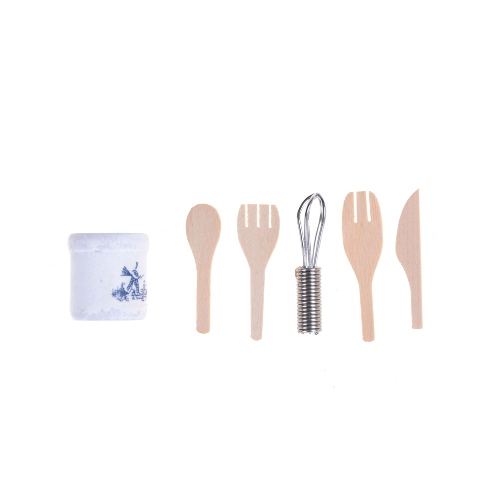 6pcs/Set Hot Sale 1/12 Scale Mini Cooking Utensil Tableware Set Home Decoration Gifts Dollhouse Miniature Kitchenware Set
