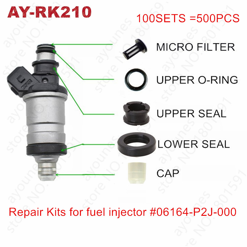 100sets 06164-P2J-000 06164-P2A-000 fuel injector repair kits for honda car micro filters viton oring ans seals cap For AY-RK210100sets 06164-P2J-000 06164-P2A-000 fuel injector repair kits for honda car micro filters viton oring ans seals cap For AY-RK210