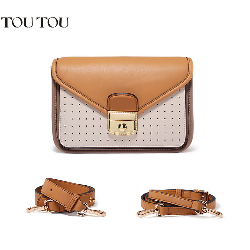 TOUTOU women bag Contrast color handbag fashion lock joker wide shoulder straps aslant package large handbags free shipping yuanyu 2018 new hot free shipping real python skin snake skin color women handbag elegant color serpentine fashion leather bag