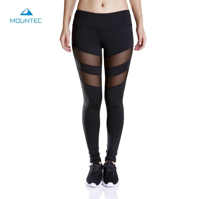 MOUNTEC Women Yoga Pants Mesh Leggings Pants Elastic