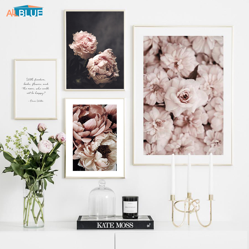 Scandinavian Style Peony Flower Painting Wall Art Canvas Posters And Prints Nordic Decorative Picture For Living Room Home Decor