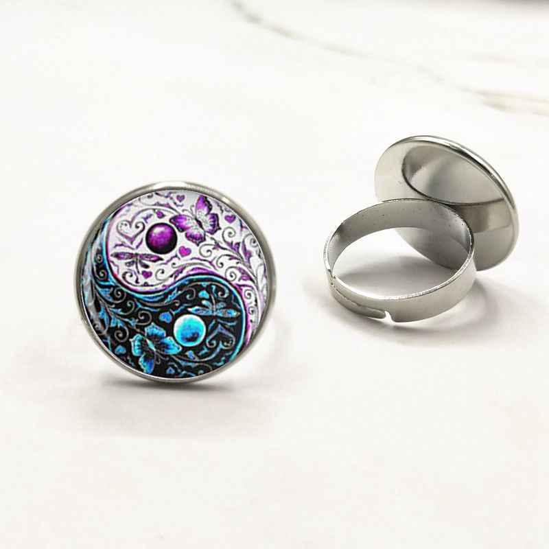 Trendy yin yang biżuteria mandala Ringnecklaces 1 sztuk henna yoga pierścień om symbol buddyzm zen ręcznie w stylu indie pierścień