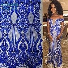 Королевский синий с блесками Сетка кружевная ткань Африканская Женская вечернее платье швейный материал французский, из Нигерии швейцарская вуаль вышитая кружевная ткань