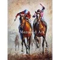 Handgeschilderde Olieverfschilderij Kanshebbers Paarden Abstracte Paletmes Schilderij Woonkamer Decor Kunstwerk Figures Poster