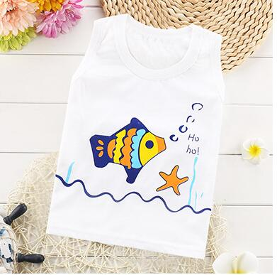 New summer baby vest shirt for boy and girl 100 cotton kids clothing tops cartoon sleeveless