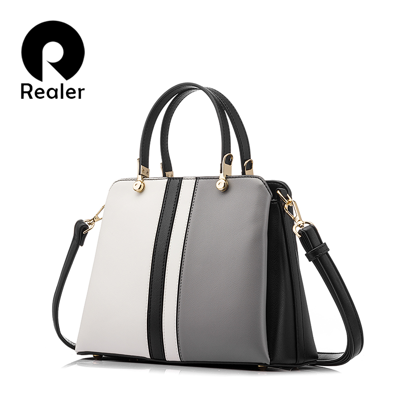 REALER design handbag female fashion black and white patchwork tote ladies handbags high quality artificial leather