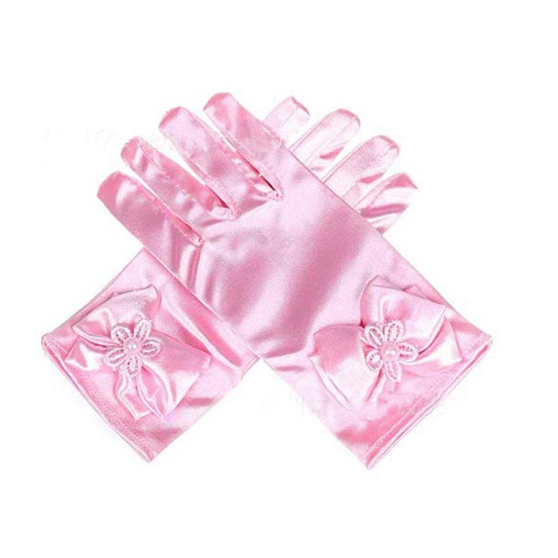 Lovely Flower Girl Stretch Satin Gloves Kids Girls Bowknot Glove For Dress Party Birthday