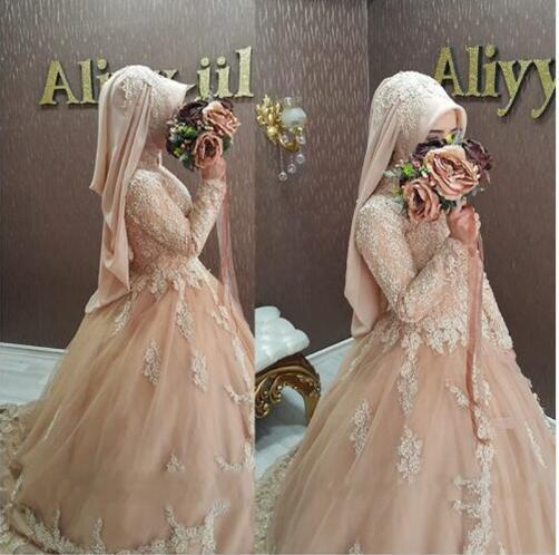 2017 font b Hijab b font Wedding Dress Muslim Lace Long Sleeve Champagne Wedding Gowns Islamic