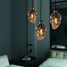 Урожай Череп головы стеклянный подвесной светильник висит кулон лампы для украшения искусства эдисон подвесные светильники E14 лампы оптом HM31