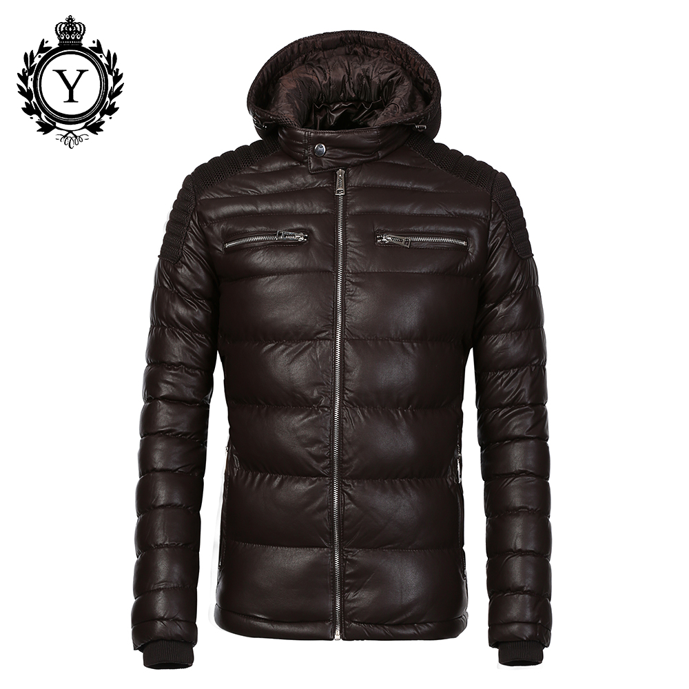COUTUDI New Arrival Parkas For Men Warm Waterproof Winter Parkas Coffee PU Leather Down Jacket Parka Puffer Jacket And Coats Hot