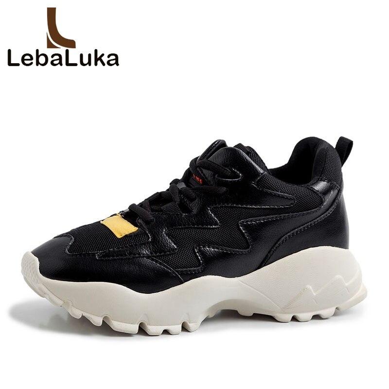 LebaLuka Ins célébrité en cuir véritable baskets femmes maille respirante plate-forme chaussures décontractées Femme vulcanisé chaussures taille 35-42