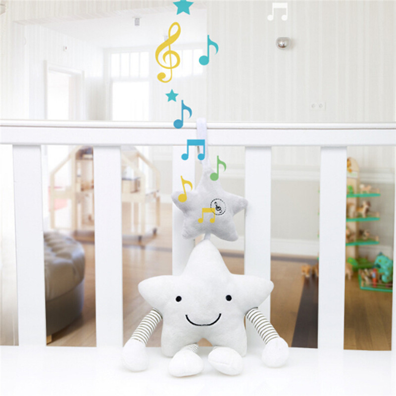 Wind Chime Hanging Singing Stroller Hot Baby Bed Hanging Rattle White Star Music Bed Hanging Bed Bell Accompany Toy For Newborn(China)