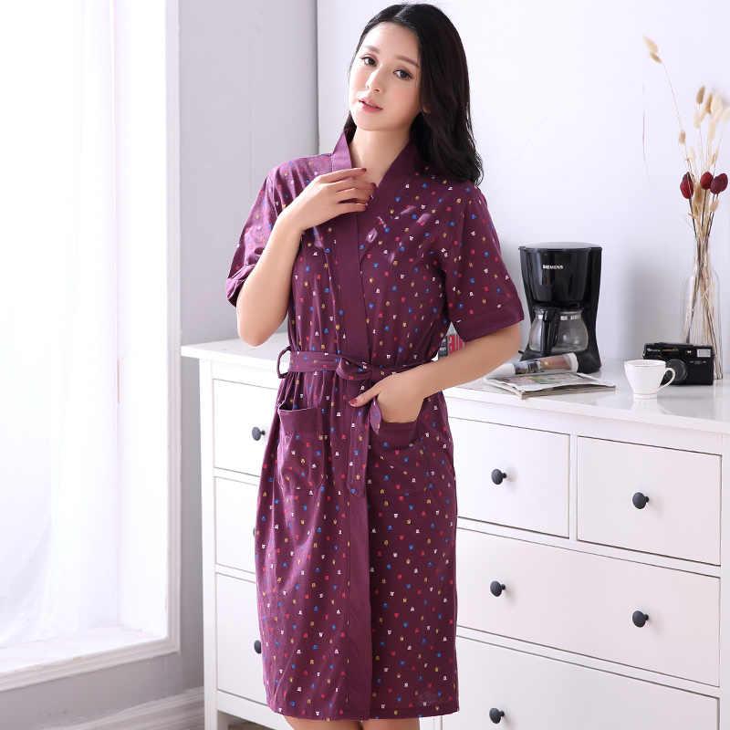 c502500c2a9 New Plus Size Pajamas Women Summer Shorts Bathrobes Cotton Lingerie Bathrobe  Cotton Home Clothes Lounge Wear
