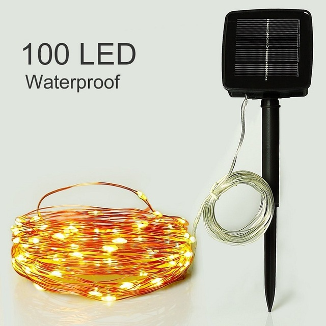 1*12M 100LED Outdoor Waterproof String Lights Copper Wire Solar ...