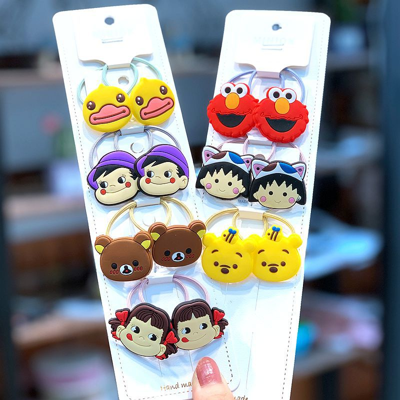 2 6 14pcs set Children Hair Accessories Cartoon Bear Snap Hair Clips For Girls Silicone Safe Kids Hair Ties Ring Rope Barrette in Hair Accessories from Mother Kids