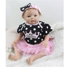 Silicone Soft Reborn Dolls Baby 22 Inch Newborn Princess Girl Babies Real Touch Doll Toy With Magnetic Mouth Kids Birthday Gift