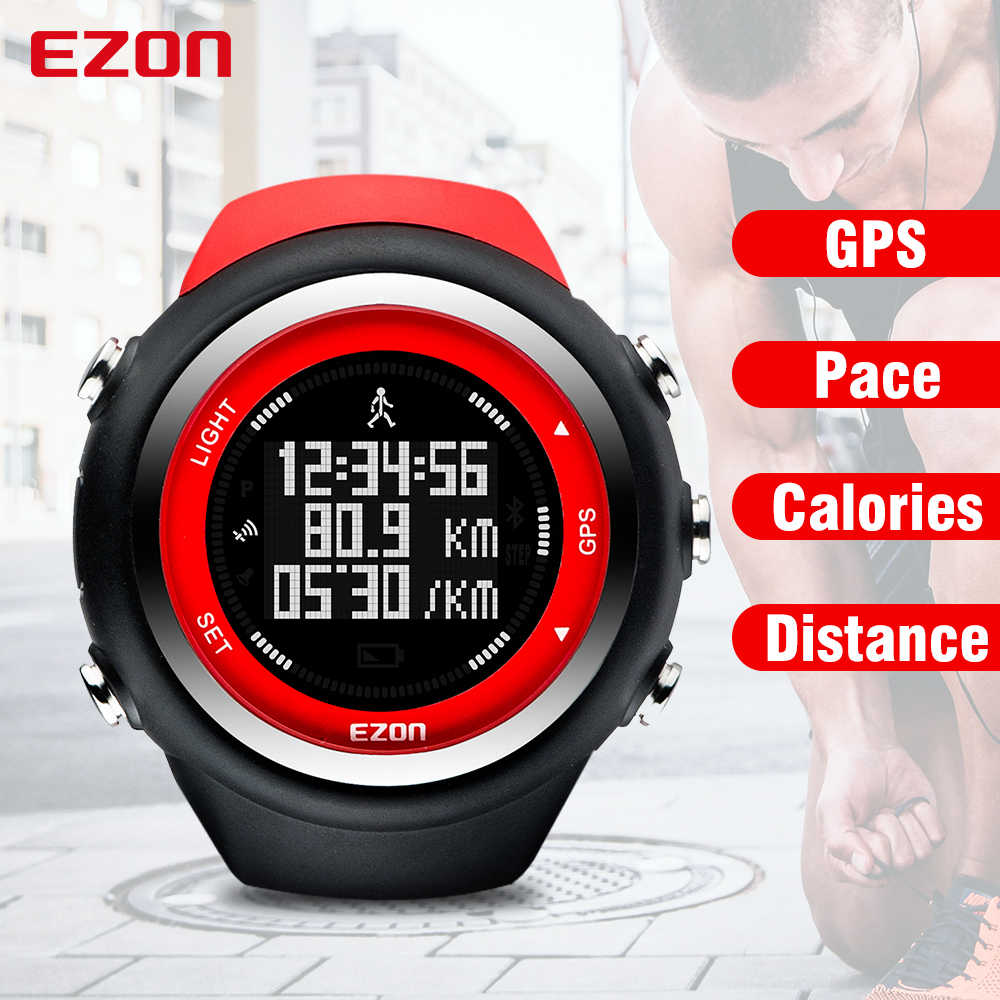 Men's Digital GPS sport watch for Outdoor Running and Fitness 50M Waterproof  Speed Distance pace EZON T031