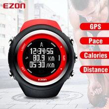 Relógio esportivo digital masculino, relógio para corrida e fitness ao ar livre com gps, ritmo de distância, à prova d água, 50m, ezon t031