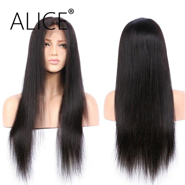 ALICE prosto pełna peruki typu lace z ludzkich włosów z dzieckiem włosy 130% gęstość peruki z włosów typu remy wstępnie oskubane pełne koronkowe peruki bielone węzłów