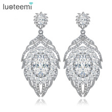 LUOTEEMI Luxury CZ Vintage Embellished Bridal Clear Cubic Zircon Feather Design Heavy Stud Earring For Women's Wedding Jewelry