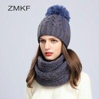 2017 ZMKF New Fashion Women Winter Hat Thương Hiệu Skullies Beanies dệt kim Hat Cô Gái Ấm Cap Pom Beanie Mũ Và Thời Trang khăn