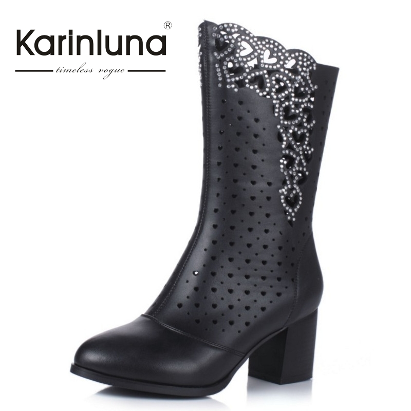 ФОТО KARINLUNA 2017 Big Size 34-43 Nature Cow Leather Spring Summer Boots Cut Outs Party Women Shoes Woman High Heels Crystal