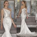 2017 cheap wedding dresses china Gorgeous robe de mariee rose Mermaid Wedding Dresses Satin Sleeveless Bridal Gowns Brush Train