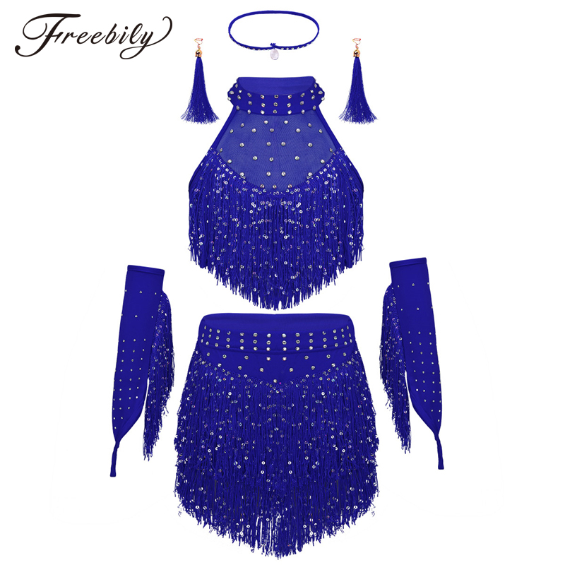 Tassels Girls Professional Latin Dance Dress Kids Salsa Skating Modern Ballet Dance Dress Stage Performance Competition Costumes