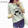 Propcm Brand Women T-Shirts Summer Harajuku Kawaii 2017 New Tops Tees Casual Cartoon Letter Print Short Sleeve O Neck Plus Size