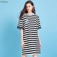 ARTKA 2019 Summer Women Dress Casual Loose Stripe T shirt Dress Fashion Tassel Design Short Sleeve Dresses For Women ZA10099X