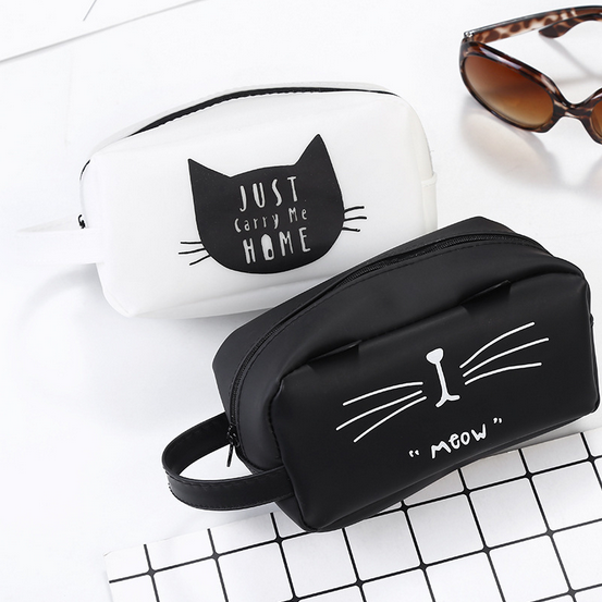 Kawaii Cartoon Cat Silica Gel Pencil Case Super Big Capacity School Stationery Pen Bag Gift For Girl Boy Student Prize 014