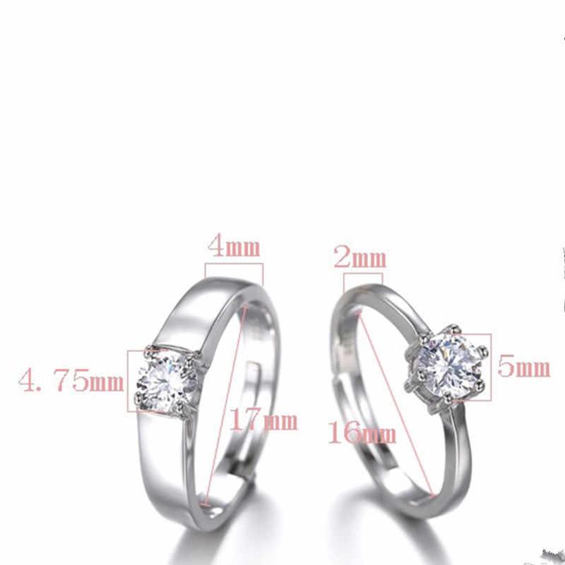แฟชั่นเครื่องประดับคริสตัล CZ sparkling zircon แหวนหมั้นแหวนคู่เงินปรับแหวนผู้หญิงผู้ชาย 925