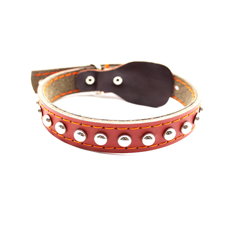 Cool Rivets Studded Best Genuine Leather Pet Dog Collars For Small Medium Large Dogs Brown Boxer Bulldog Pitbull Neck Collar
