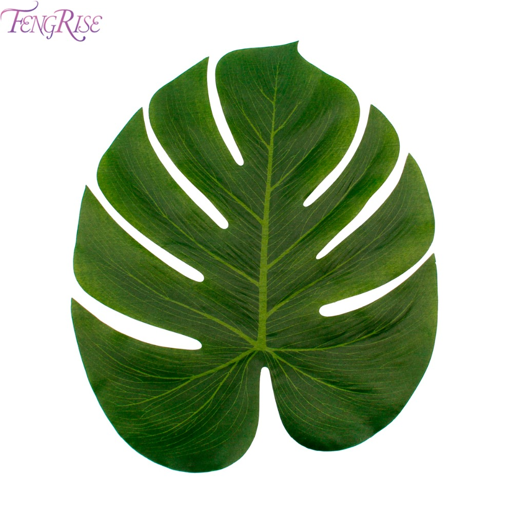 Fengrise 12pcs green artificial palm leaves wedding table for Artificial leaves for decoration