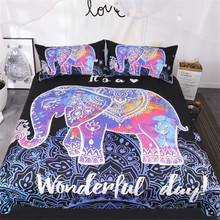 BeddingOutlet Colorful Elephant Bedding Set Queen Size Bohemian Duvet Cover Mandala Bed Set Black Animal Print Bedclothes 3pcs