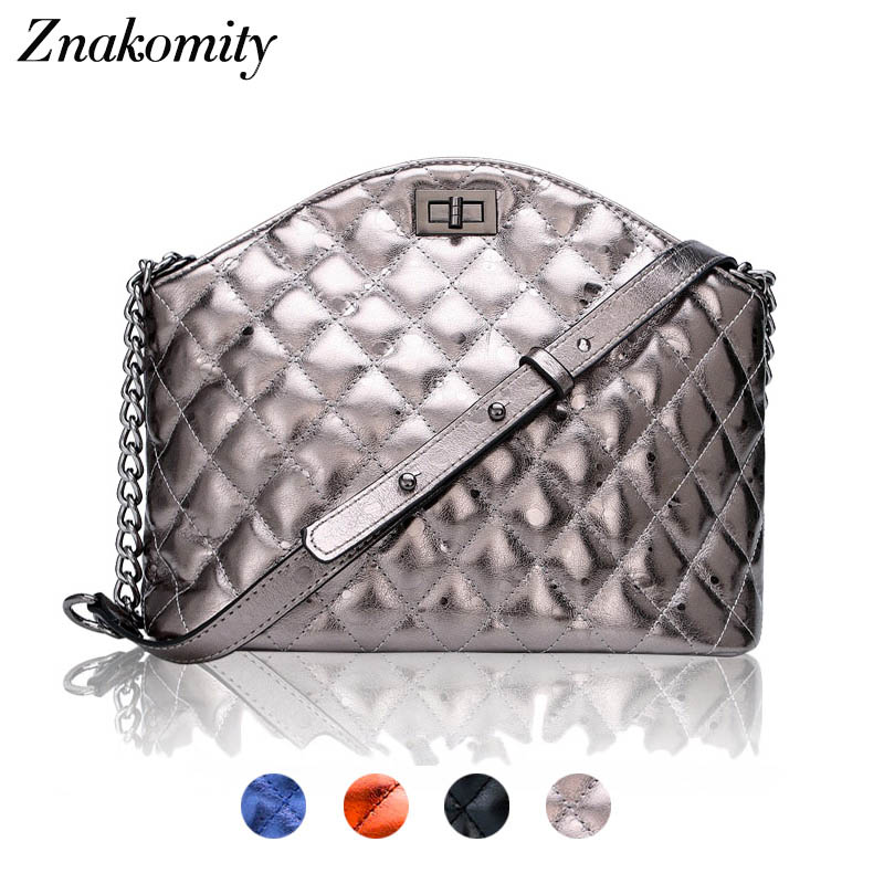 цена на Znakomity Plaid stripe shoulder bag genuine leather quilted bags handbag Diamond lattice leather quilted messenger crossbody bag