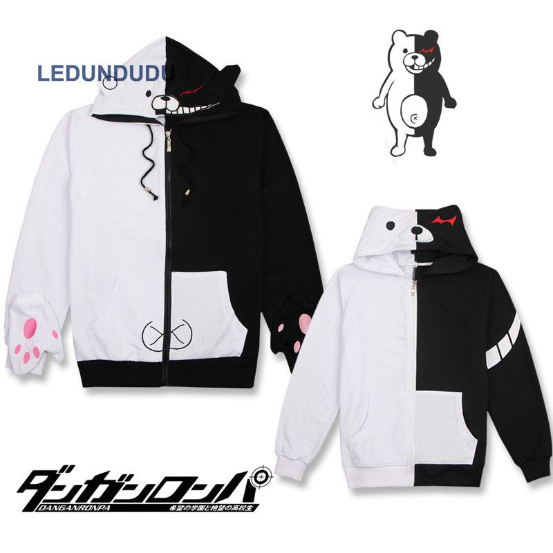 Fashion Danganronpa Monokuma Hooded Hoodie Monokuma Bear Hoodies Anime Cosplay Costumes Men Long Sleeve Coat with Gloves