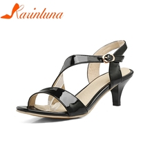 KARINLUNA 2018 Large Size 30-47 Customization Date Shoes Women Summer Comfotable Ankle Strap Black White Shoes Sandals Woman
