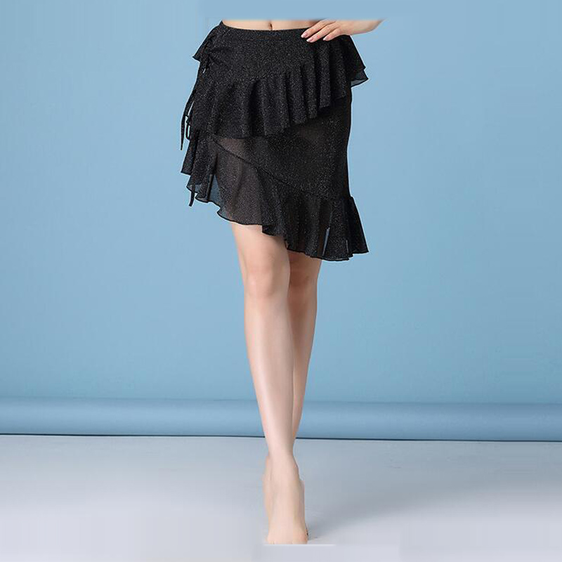 New Sexy Belly Dance Short Skirt With Ruffles Women's Performance Training Dance Dress Silver Mesh