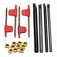 4pcs Metal SCLCR06 Turning Tool Holder 6 7 8 10mm Boring Bar 10pcs Golden CCMT060204 Inserts