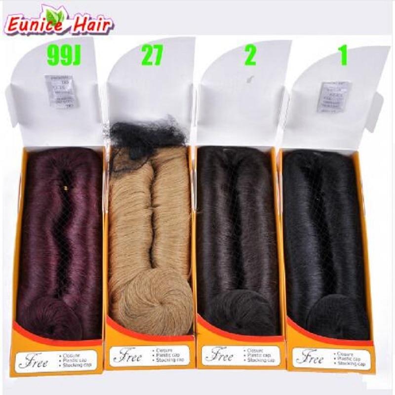 Eunice 28 Pz/pacco 3-5 Pollice Breve Rettilineo Cucire Nell'estensione Lace Front Human Hair Wigs