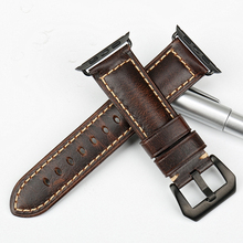 MAIKES Brown vintage genuine leather watch band black buckle
